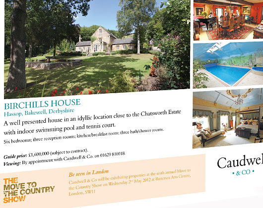 caudwell and co, property, estate agent, magazine, advertising, advert, graphic design, bakewell, derbyshire, sheffield, chesterfield, manchester, derby