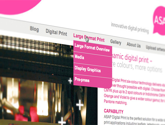 navigation design for asap digital website