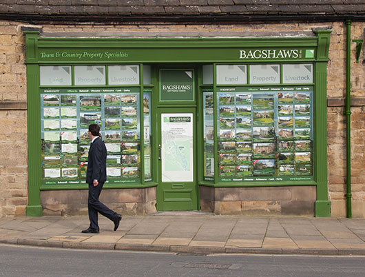Bagshaws estate agent, high street shop front
