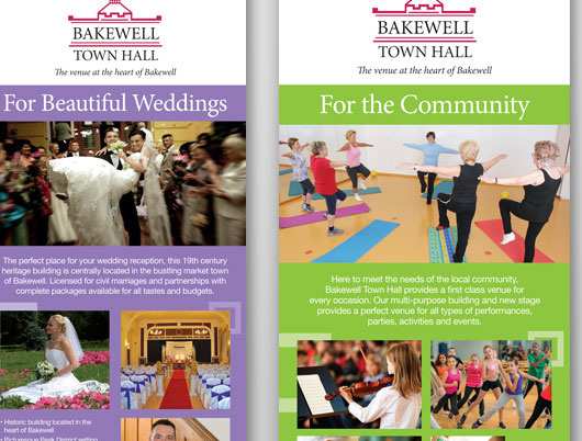 Bakewell town hall, market town, leaflets, print design, flyers