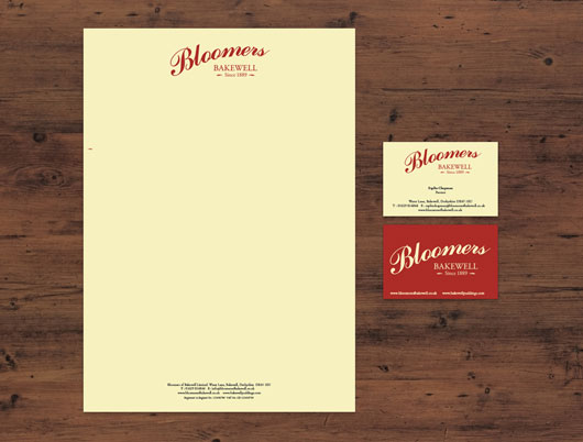 Bloomers of bakewell, bakewell tart, pudding derbyshire, original recipe, branding, stationery