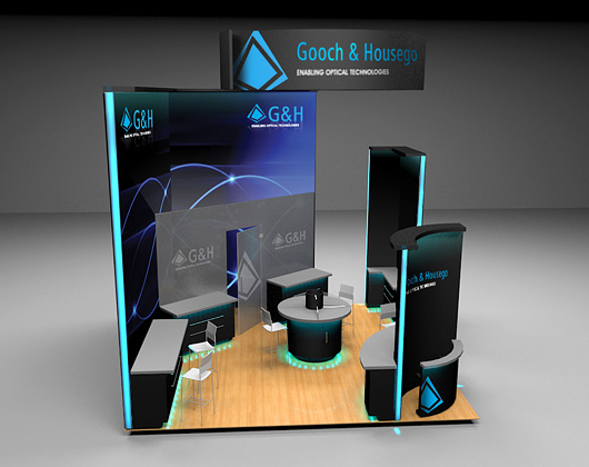 3d stand design visualisation for exhibition, gooch and housego