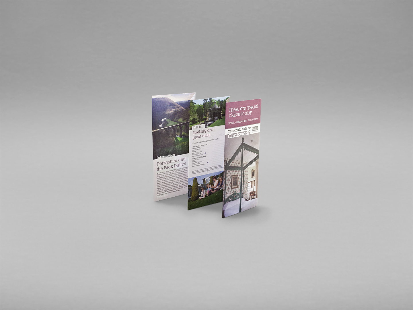 chatsworth house, holiday accomodation, leaflet, design for print, graphic design, derbyshire, sheffield, chesterfield, manchester, derby