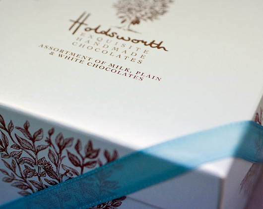 chocolate box print design bakewell, holdsworth chocolates