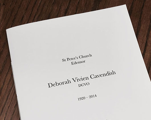duchess of devonshire, funeral order of service, chatsworth, print design, graphic design, derbyshire, sheffield, chesterfield, manchester, derby