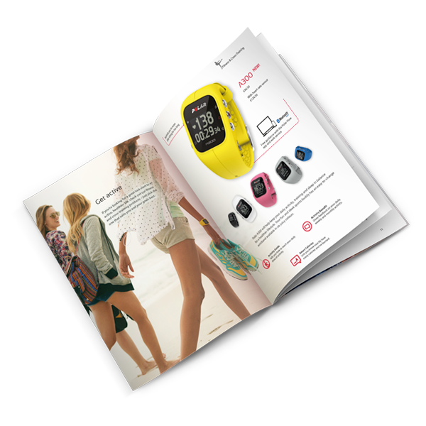 polar, electro, heart rate, fitness, coach, leaflet, product catalogue,  print, design for print, graphic design brochure