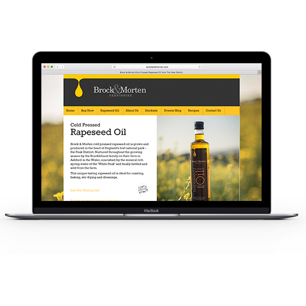 brock and morten, cold pressed rapeseed oil, Web Design, website, development, programming, responsive, mobile, device, derbyshire, sheffield